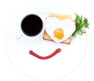 image humoristique présentant un oeuf au plat un café et une ligne de ketchup