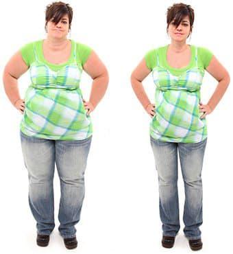 femme brune en jean montrant son evolution de poids avant et apres