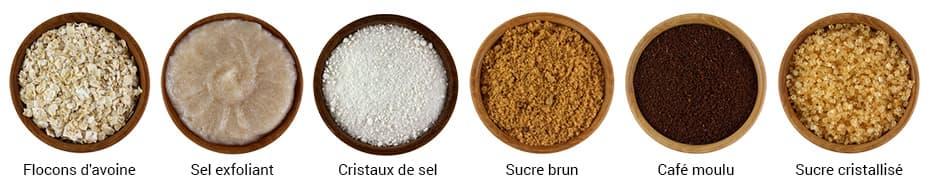 différents recipients contenant du sel du sucre et de l'avoine