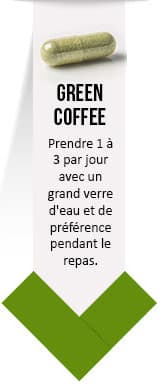 gélule verte de green coffee pure - posologie par weightworld sur un fond blanc