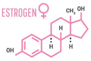 image de la structure chimique de l'œstrogène pour montrer comment la ménopause peut affecter la perte de poids