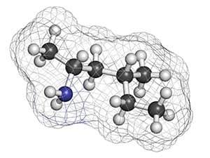 Schema molécule sur fond blanc composée de huit atomes