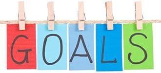 pancartes multicolores avec ecrit goals sur un fond blanc
