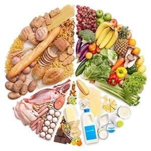 trois parts de legumes verts laitages glucides et viandes