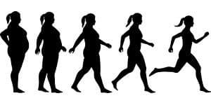 Graphiques de femme de différentes tailles. Elle devient de plus en plus mince