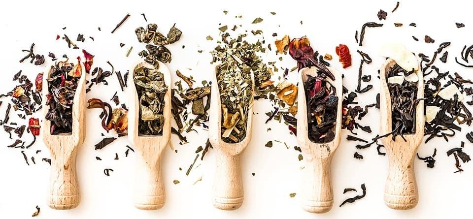 5 cuilleres en bois avec du thé à l'intérieur sur un fond blanc