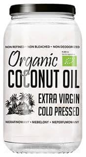 flacon d'huile de noix de coco biologique sur un fond blanc