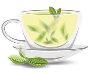 tasse de thé vert avec des feuilles à l'intérieur sur un fond blanc