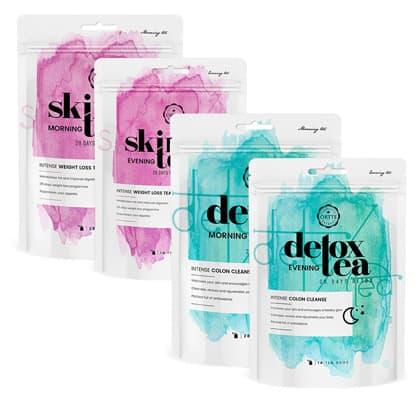 bundle pack de sachets de thé minceur et detox bleu et rose
