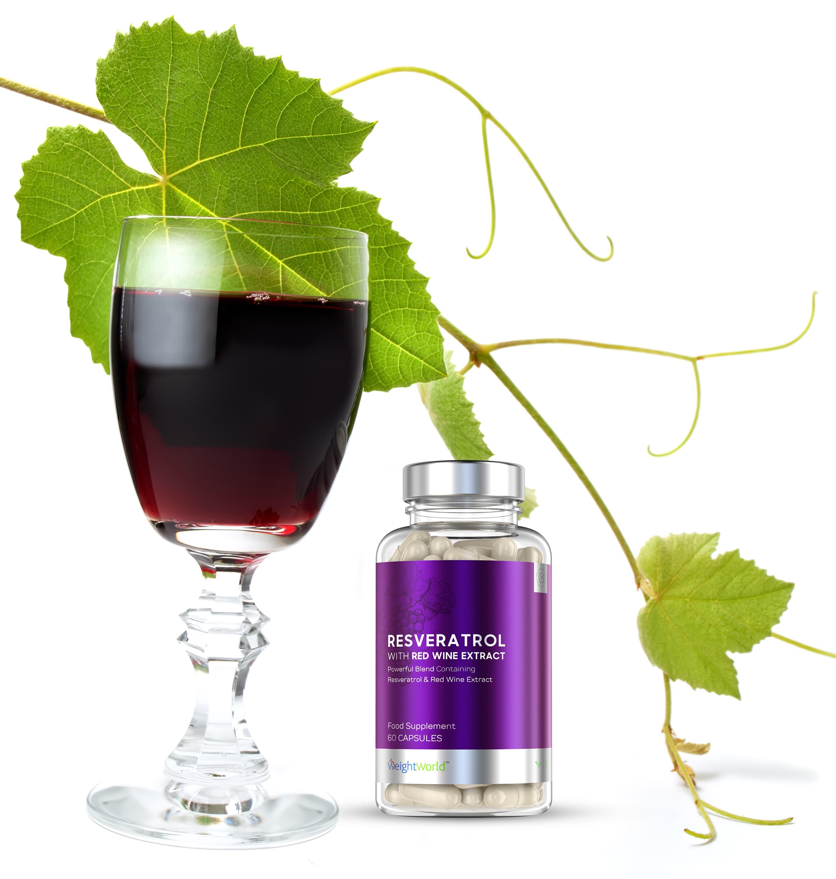 boite de resveratrol et verre de vin rouge avec des feuilles vertes
