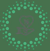 Un cercle de cercles verts avec une main dessinée grise au milieu avec un coeur dessiné avec un signe de pourcentage dedans