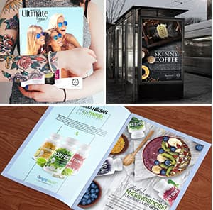 Magazines et publicité à un arrêt de bus faisant la promotion de café maigre et de produits à base de café vert