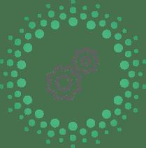 points verts dans un cercle il y a deux engrenages gris au milieu