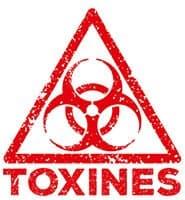 symobole rouge alerte toxines sur un fond blanc - weightworld