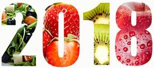 logo 2018 ecrit avec des fruits sur un fond blanc - weightworld