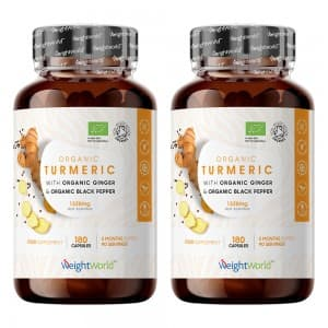 Vitamines & produits énergisants Curcuma au poivre noir et gingembre – articulations – peau – bien-être – convient aux végans – 180 gélules –  – 2 boîtes