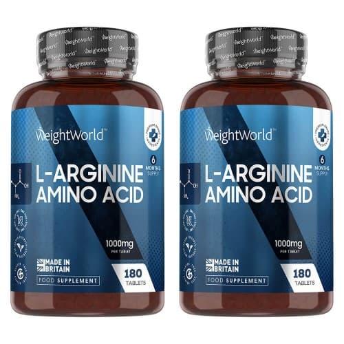 Compléments alimentaires L-Arginine en comprimés -  Développement et Tonification de la Masse Musculaire - 180 comprimés - 2 boîtes