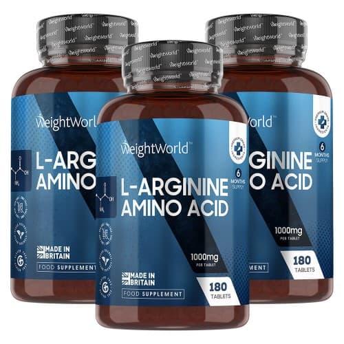 Compléments alimentaires L-Arginine en comprimés -  Développement et Tonification de la Masse Musculaire - 180 comprimés - 3 boîtes