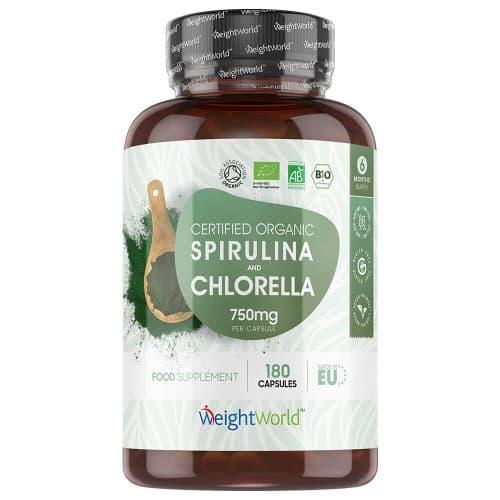 Vitamines & produits énergisants Spiruline et Chlorelle Bio | Source de vitamines et protéines végétales | 180 Gélules