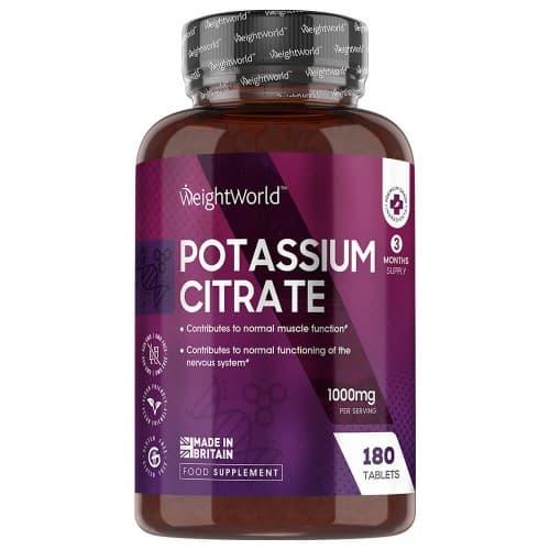 Fitness et gymnastique Citrate de Potassium | Soutien naturel aux muscles, au système nerveux et à la tension artérielle | 180 comprimés