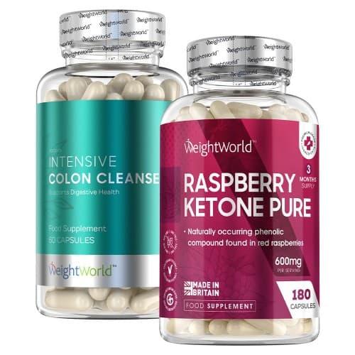 deux boites de colon cleanse et raspberry ketone en gélule sur fond blanc